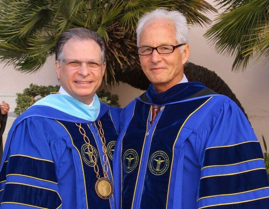 Weeks with Southern California University of Health Science president John Scaringe, DC, EdD prior to delivering the commencement address (2015).